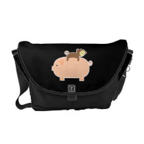 Baby Monkey Riding Backwards on a Pig Messenger Bag