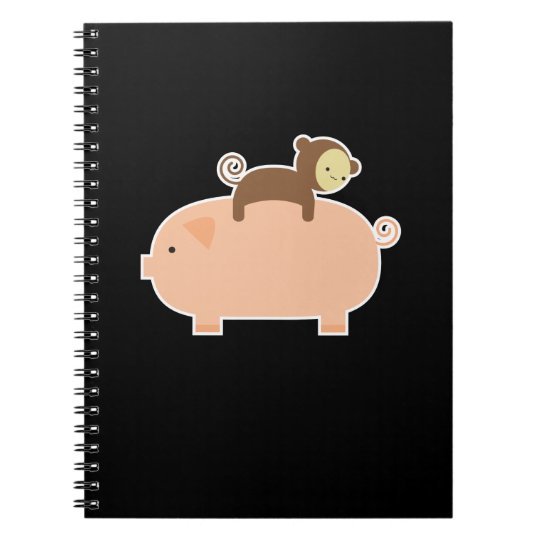 Baby Monkey Riding Backwards on a Pig Notebook