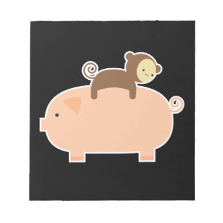 Baby Monkey Riding Backwards on a Pig Notepad