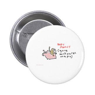 Baby Monkey (riding backwards on a pig) Pin