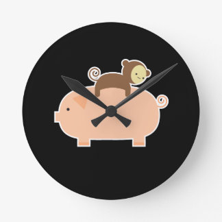 Baby Monkey Riding Backwards on a Pig Round Clock