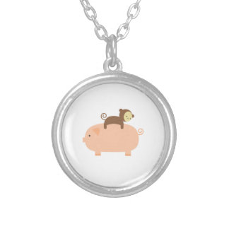 Baby Monkey Riding Backwards on a Pig Silver Plated Necklace