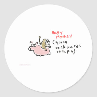 Baby Monkey (riding backwards on a pig) Round Stickers