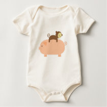 Baby Monkey Riding on a Pig Baby Bodysuit