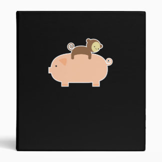 Baby Monkey Riding on a Pig Binder