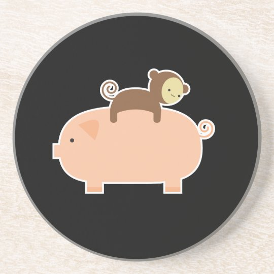 Baby Monkey Riding on a Pig Drink Coaster