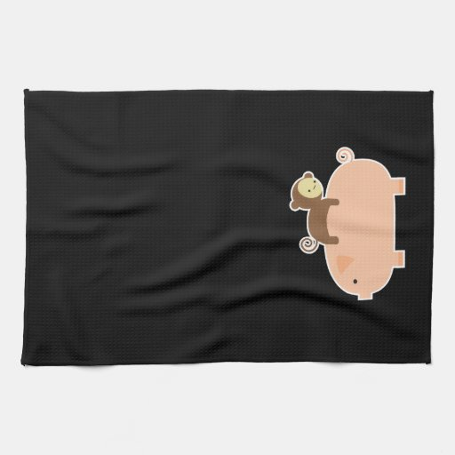 Baby Monkey Riding on a Pig Hand Towel