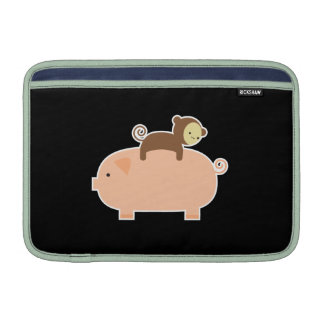 Baby Monkey Riding on a Pig MacBook Sleeves
