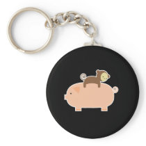 Baby Monkey Riding on a Pig Keychain