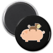 Baby Monkey Riding on a Pig Magnet