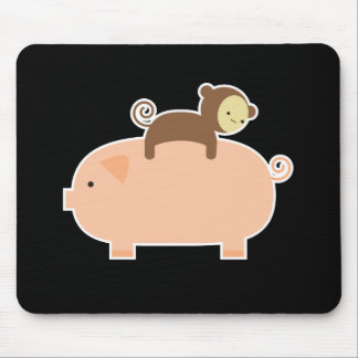 Baby Monkey Riding on a Pig Mousepads