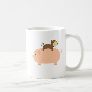 Baby Monkey Riding on a Pig Coffee Mug