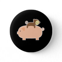 Baby Monkey Riding on a Pig Pinback Button