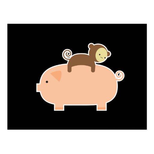Baby Monkey Riding on a Pig Postcard