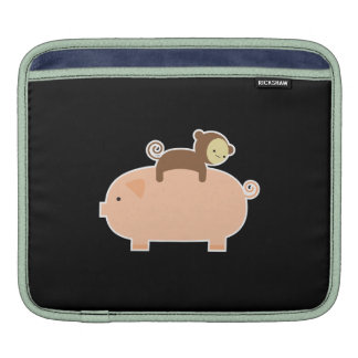 Baby Monkey Riding on a Pig Sleeve For iPads