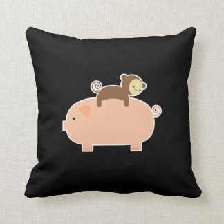 Baby Monkey Riding on a Pig Throw Pillow