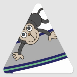baby Monkey riding skateboards Triangle Sticker