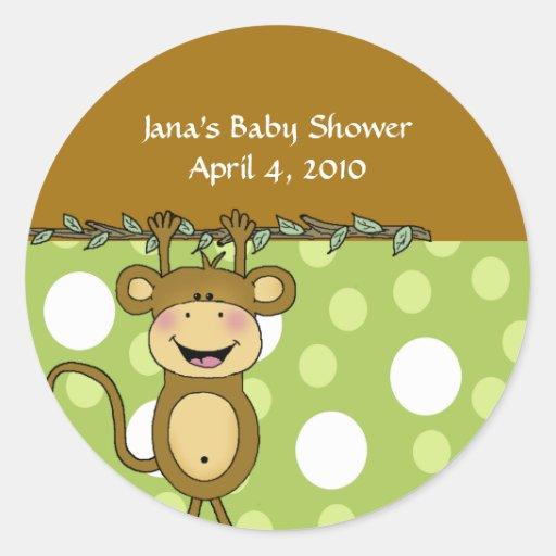 BABY MONKEY Round Baby Shower Favor Stickers