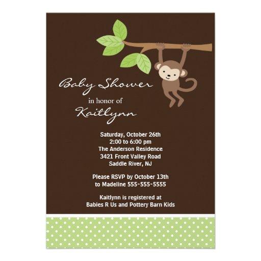 Baby Monkey Safari Baby Shower Invitation