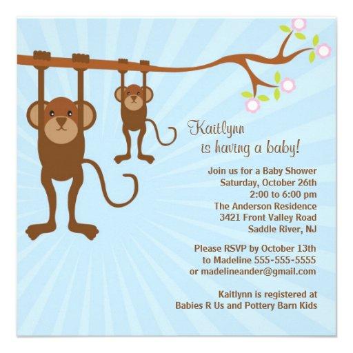baby monkey safari baby shower invitation square invitation card