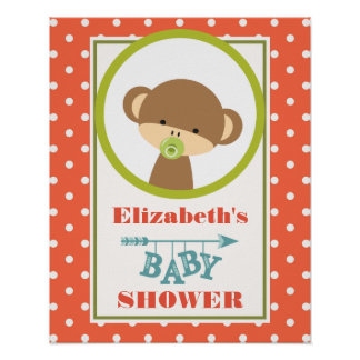 Baby Monkey with a Pacifier Baby Shower Poster