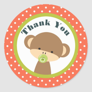 Baby Monkey with a Pacifier on Polka Dots Thanks Classic Round Sticker
