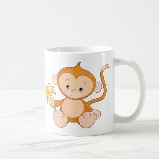 Baby Monkey with Banana Coffee Mug
