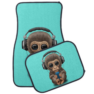 Baby Monkey with Headphones and Cell Phone Car Floor Mat