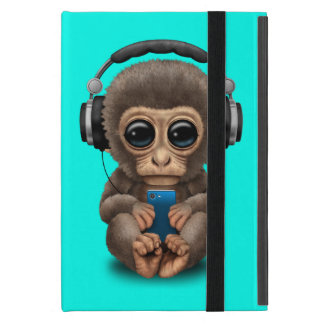 Baby Monkey with Headphones and Cell Phone Cover For iPad Mini