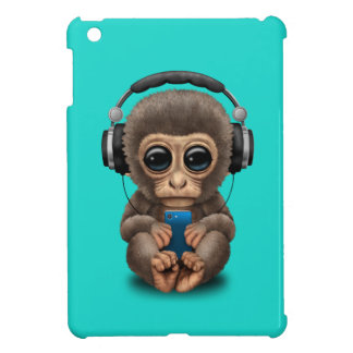 Baby Monkey with Headphones and Cell Phone Cover For The iPad Mini