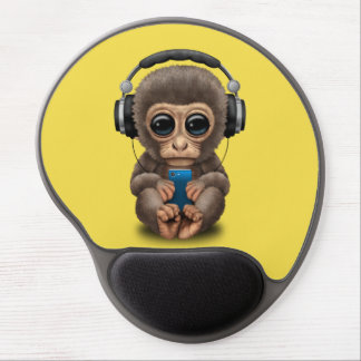 Baby Monkey with Headphones and Cell Phone Gel Mouse Pad