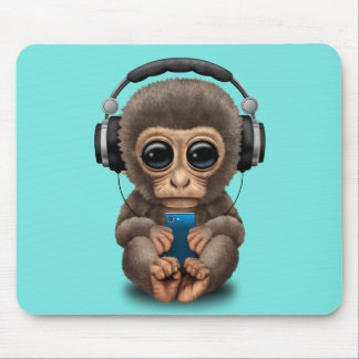 Baby Monkey with Headphones and Cell Phone Mouse Pad