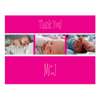 Baby monogram thank you, insert your photos post card