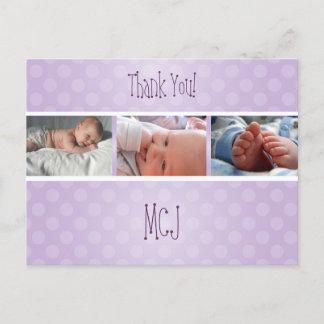 Baby monogram thank you, polka dots announcement postcard