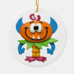 Baby Monster Double-Sided Ceramic Round Christmas Ornament