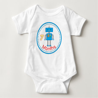 Baby Monthly T Shirt & 7 Month Blue Robot Shirts