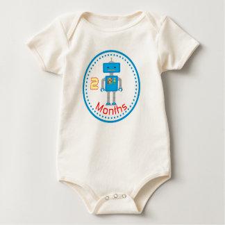Baby Monthy Shirt 2 Months Blue Robot