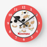 Baby Moo Cow Farm Personalized Wall Clock Red