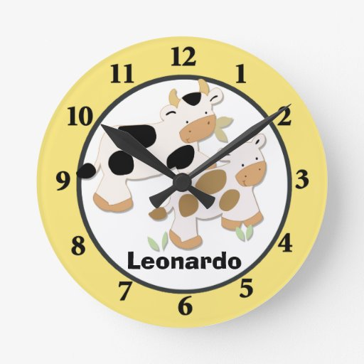 Baby Moo Cow Farm Personalized Wall Clock Yellow