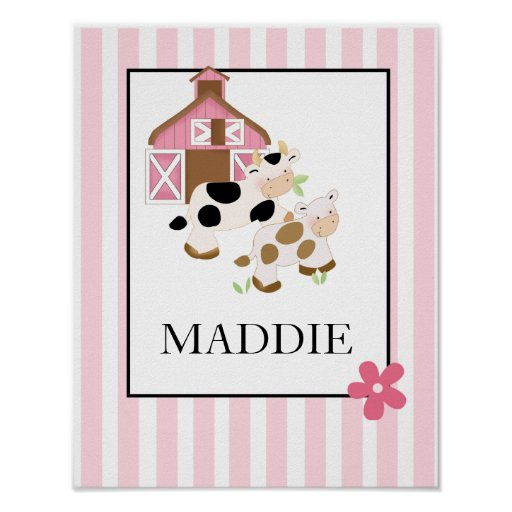 Baby Moo Cow Farm Pink Name Print Personalized