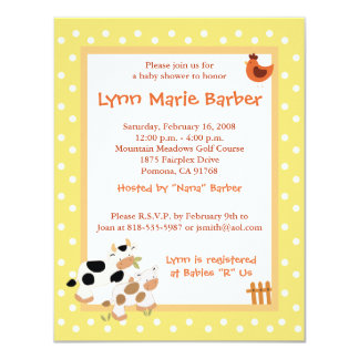 Baby Moo Cow Farm Yard Baby Shower Yellow 4.25x5.5 Paper Invitation Card