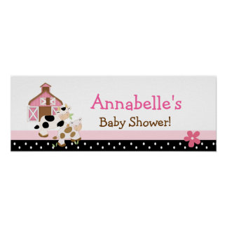Baby Moo Cow Pink Baby Shower Banner Poster