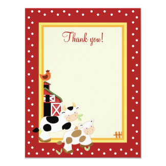 BABY MOO COW (Red) 4x5 Flat Thank you note Card