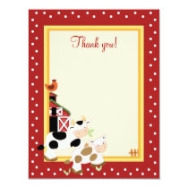 BABY MOO COW (Red) 4x5 Flat Thank you note Invitation