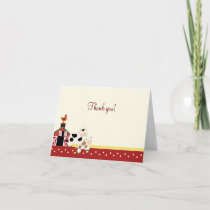Baby Moo Cow Red Folded Thank you notes