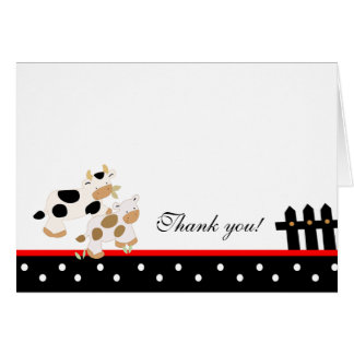 Baby Moo Moo Red/Black Folded Thank you note Card