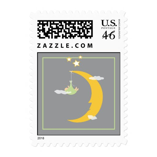 Baby Moon and Stars Postage Stamp