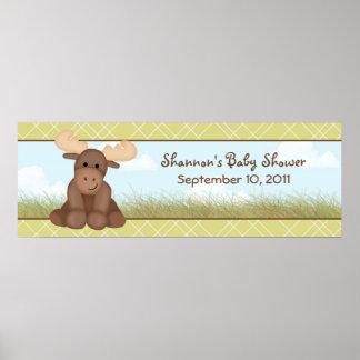 Baby Moose Baby Shower Banner Print