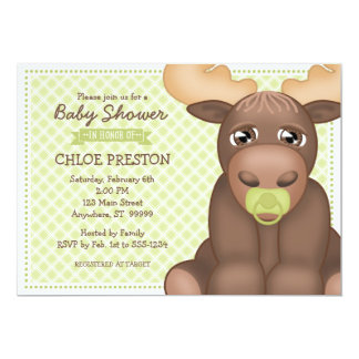 Baby Moose Baby Shower Invitation - Green & Brown