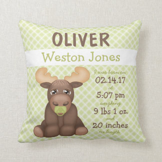 """Baby Moose"" Birth Stats Boy Green -Brown-White Throw Pillow"